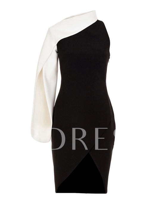 One Shoulder Color Block Women's Sheath Dress