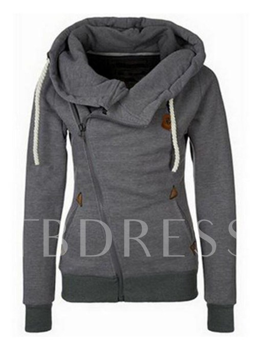 Plain Oblique Zipper High Collar Women's Hoodie