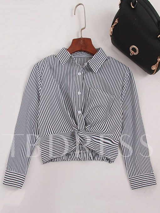 Stripe Twist Front Crop Top Blouse For Women