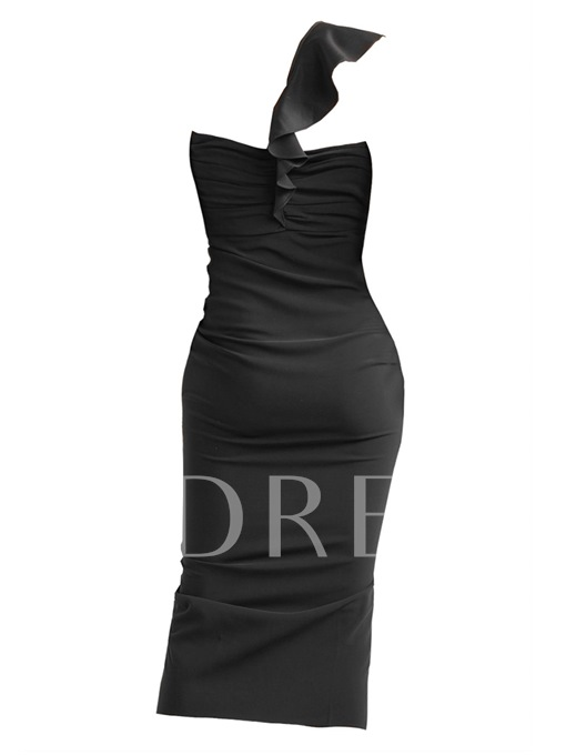 One Shoulder High Split Women's Bodycon Dress