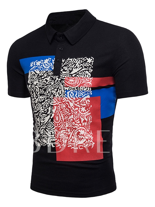 Ethnic Color Block Slim Men's Polo