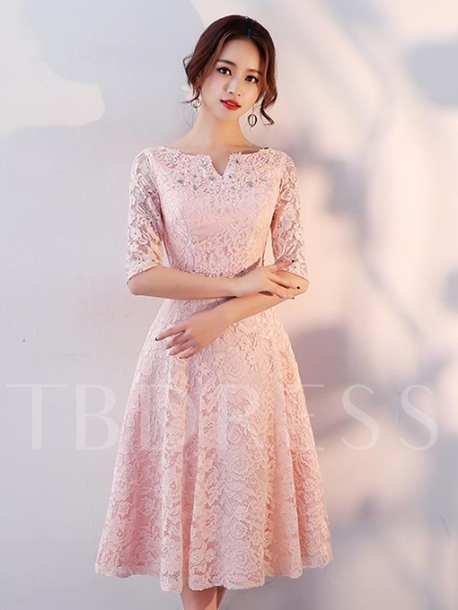 V-Neck Half Sleeve Beading Lace Bridesmaid Dress