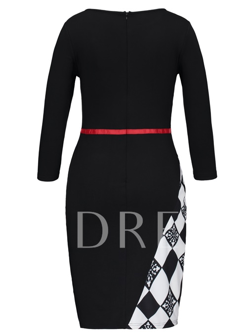 Split 3/4 Sleeve Women's Bodycon Dress