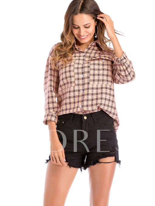 Loose Plaid Color Block Women's Blouse