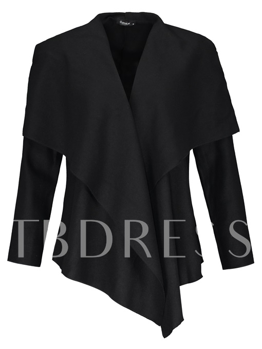 Solid Color Long Sleeve Asymmetrical Hem Women's Trench Coat
