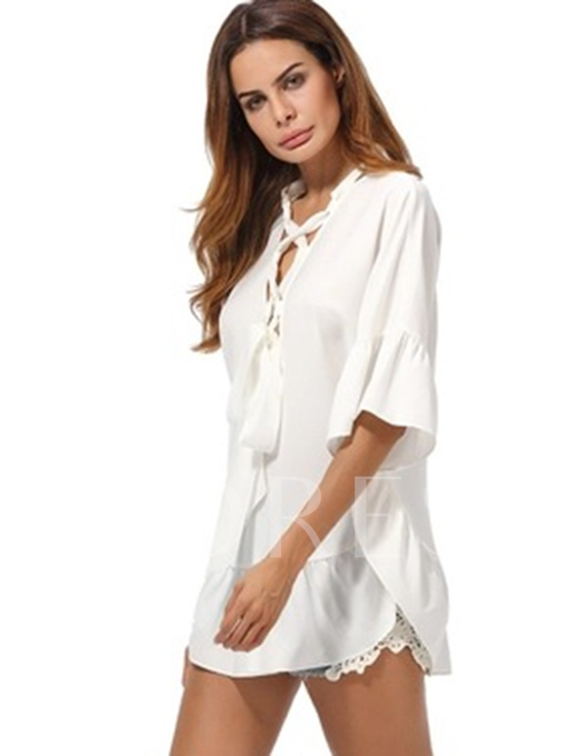 Falbala Crisscross Tunic Women's Blouse