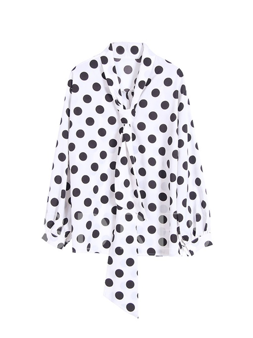 Plain Tie Neck Polka Dot Women's Blouse