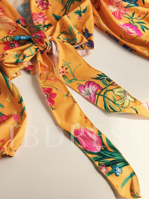 Lantern Sleeve Floral Women's Wrap Top Blouse