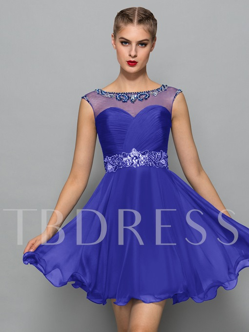 A-Line Bateau Neck Beading Sequins Cocktail Dress