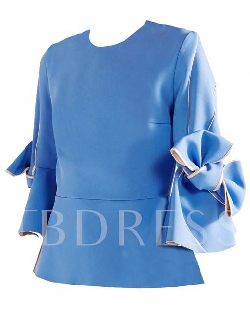 Flare Sleeve Bowknot Zip Up Women's Blouse