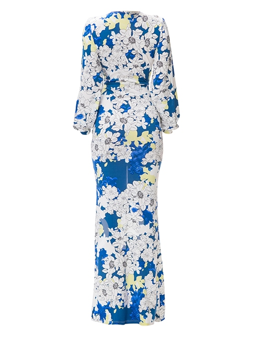 Printed V-Neck High Waist Slim Women's Maxi Dress