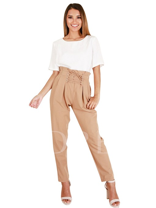 Pocket Lace-Up High Waist Women's Casual Pants