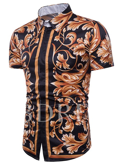 Lapel Floral Slim Short Sleeve Men's Shirt