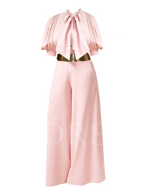 Plain Bow Tie Puff Sleeve Pleated Women's Jumpsuit