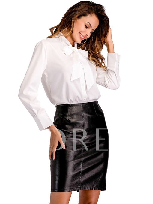Tie Neck Fashionable Solid Color Women's Blouse