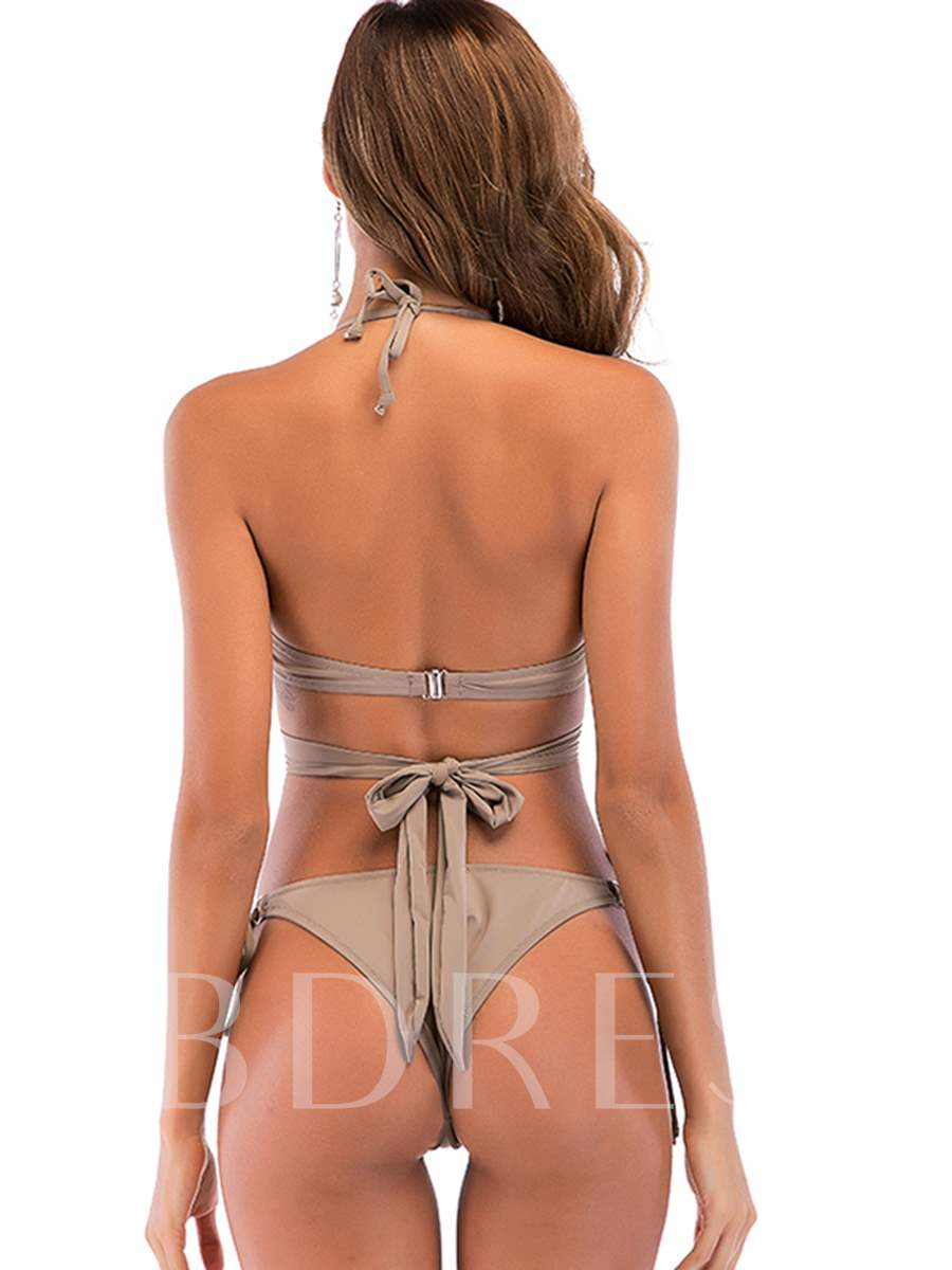 Plain Halter Lace Up Bowknot Sexy Bikini Suits