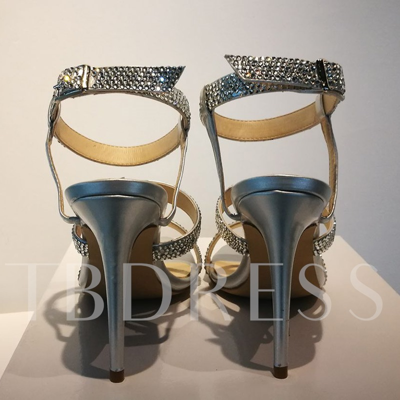 Stiletto Heel Plain Open Toe Rhinestone Women's Sandals
