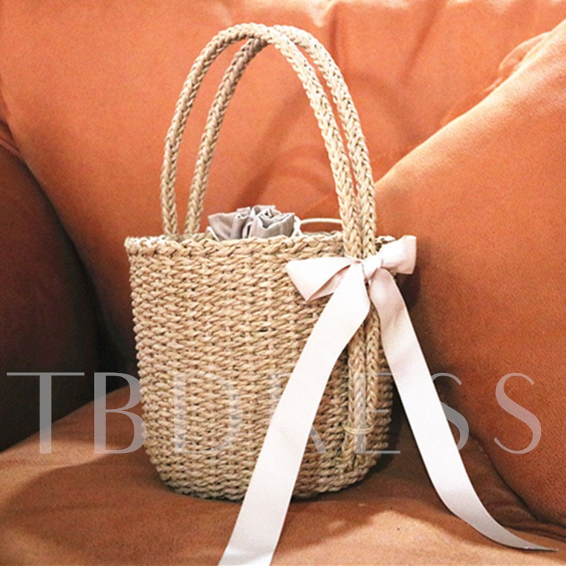 Bucket Shape Knitted String Straw Bag