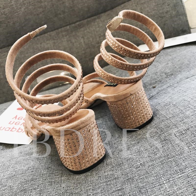 Plain Rhinestone Slip On Chunky Heel Women's Sandals