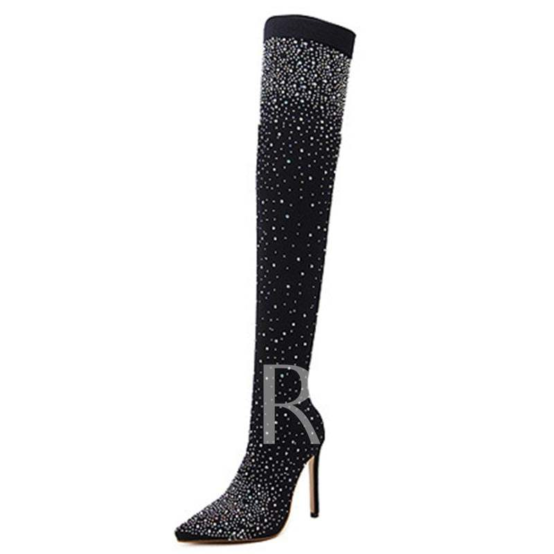 Rhinestone High Heels Women's Thigh High Boots