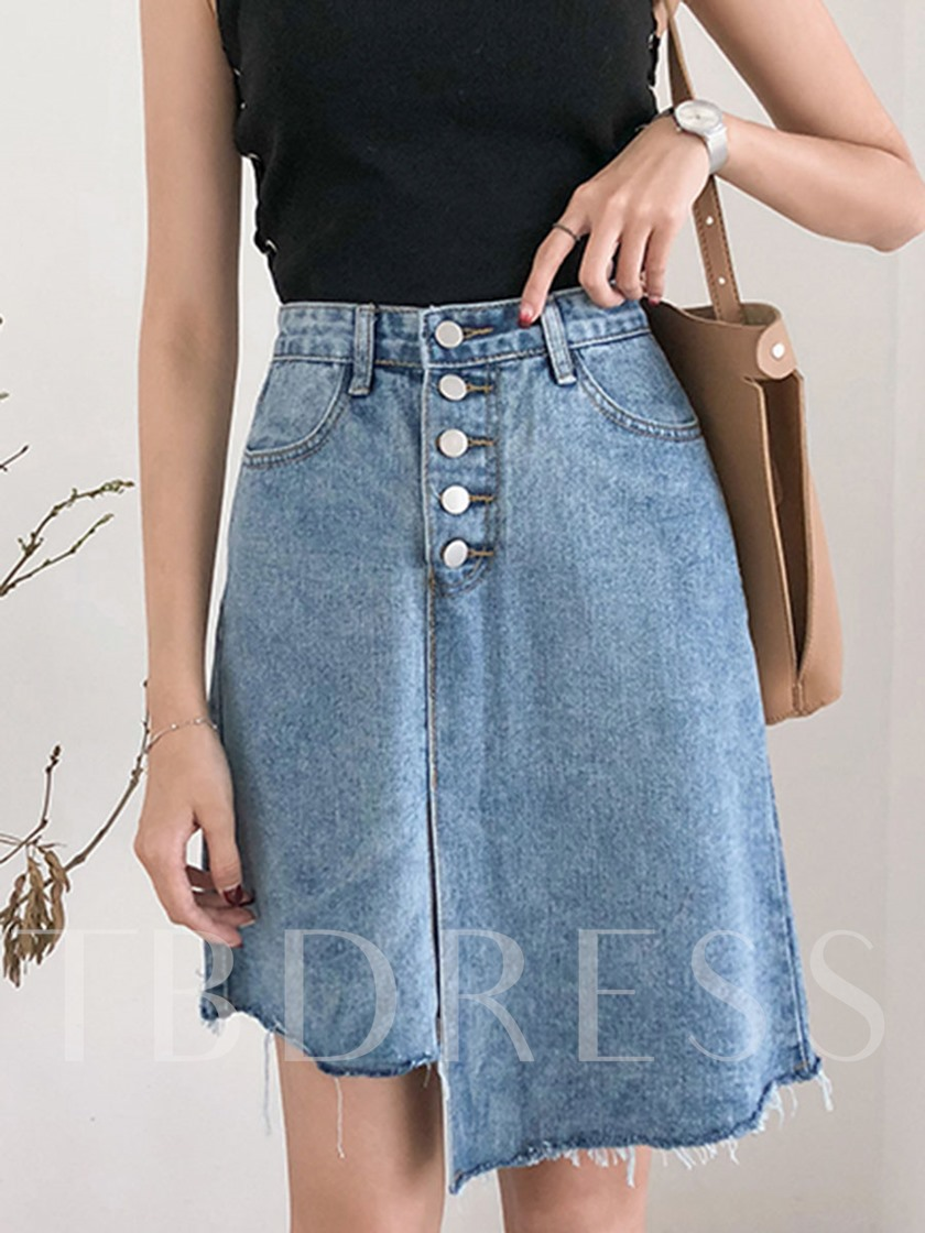 Asymmetric Denim Women's Mini Skirts