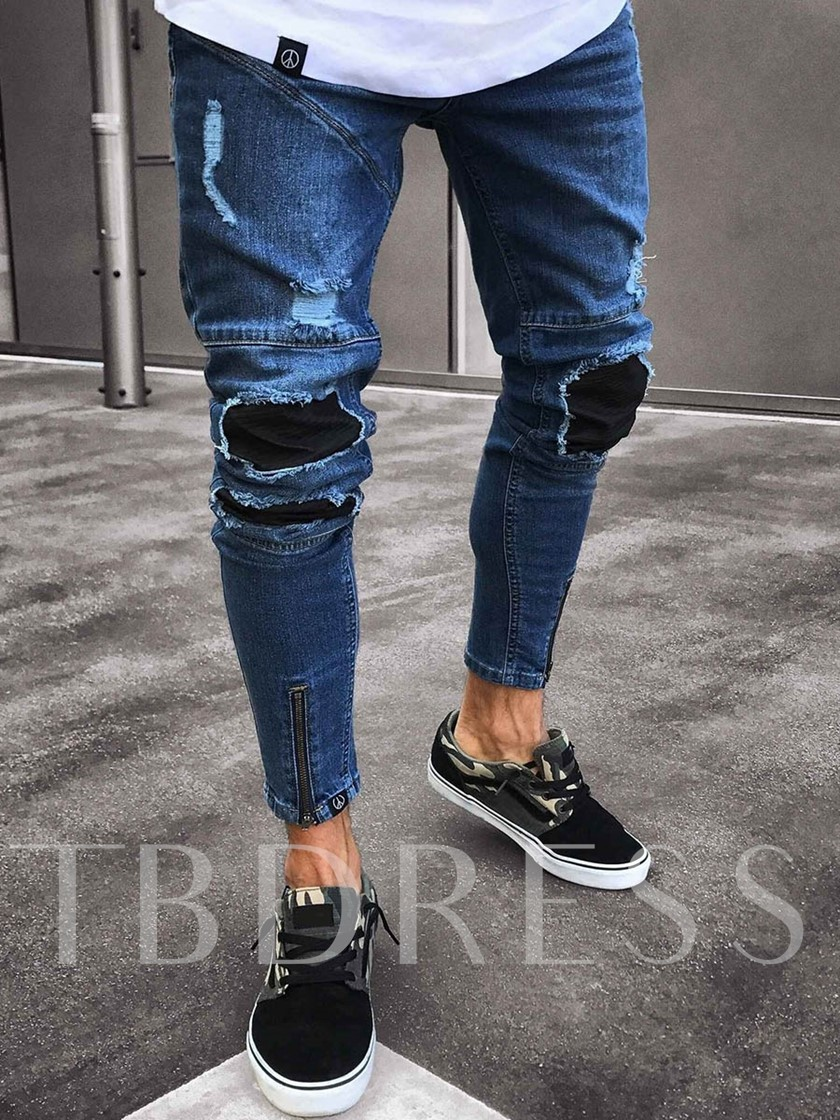 Pleated Thin Skinny Pencil Denim Pants