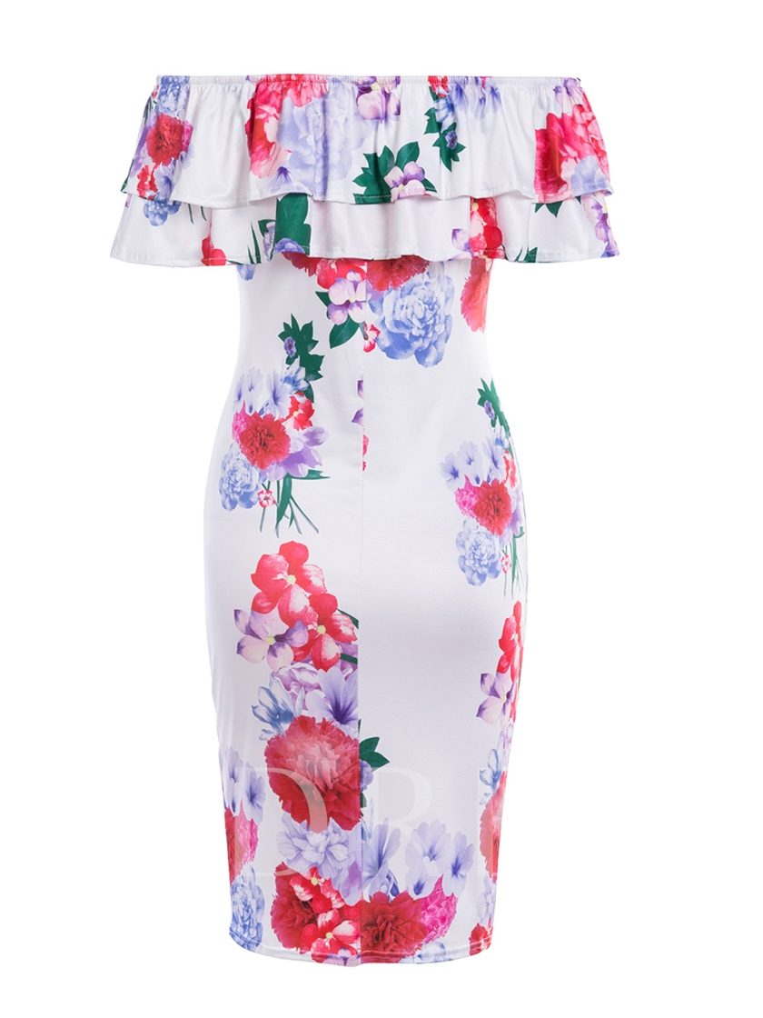 Off Shoulder Tiered Printing Women's Bodycon Dress