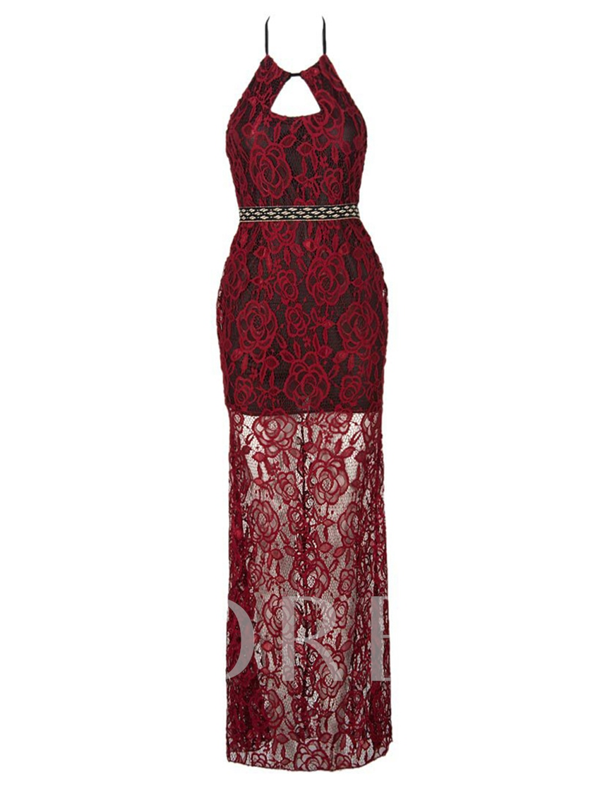 Red Halter Lace up Women's Maxi Dress