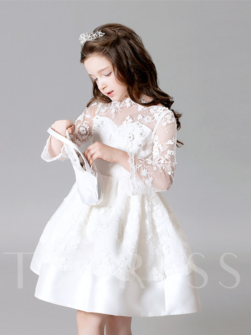 Bateau Neck Appliques Flower Girl Dress with Sleeve