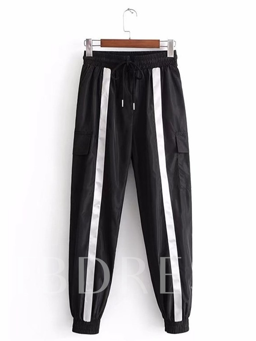 Side Striped Color Block Lace-Up Women's Sporty Pants