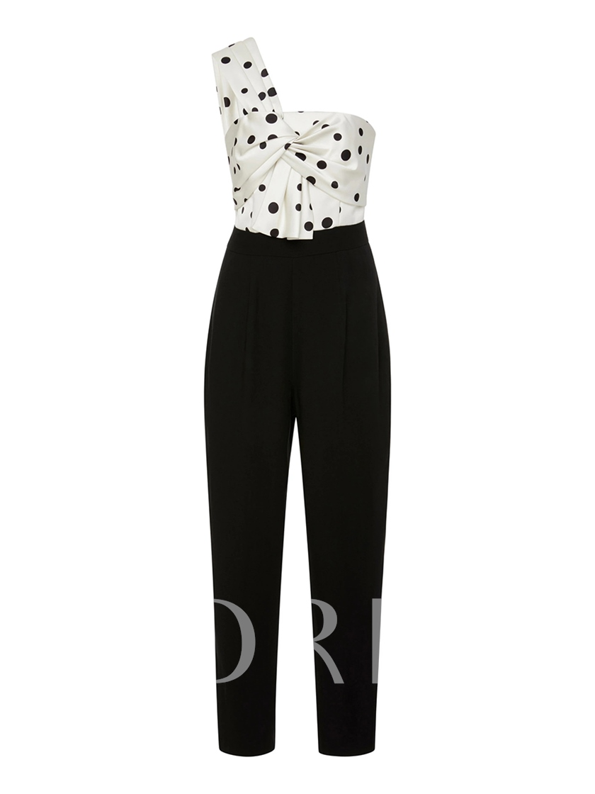 Asymmetric Polka Dots Backless Women's Prom Jumpsuit
