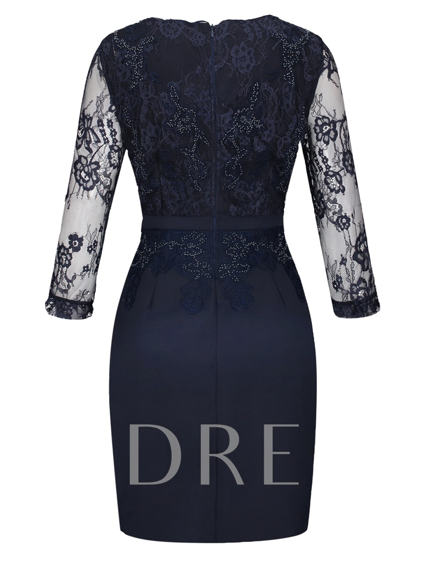 Lace See-Though Patchwork V Neck Women's Sheath Dress