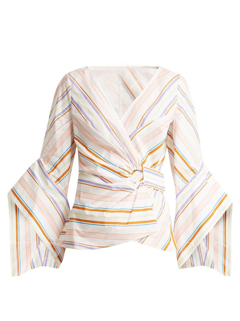 Stripe Color Block Women's Blouse Wrap Top