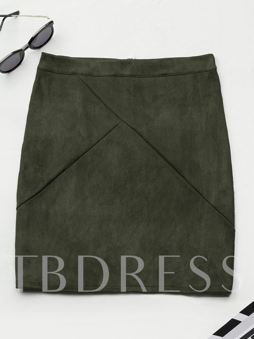 Plain Patchwork Zipper Short Women's Skirt