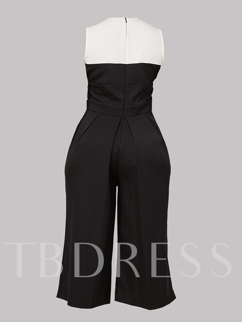 Black and White Patchwork Wide Legs Women's Jumpsuit