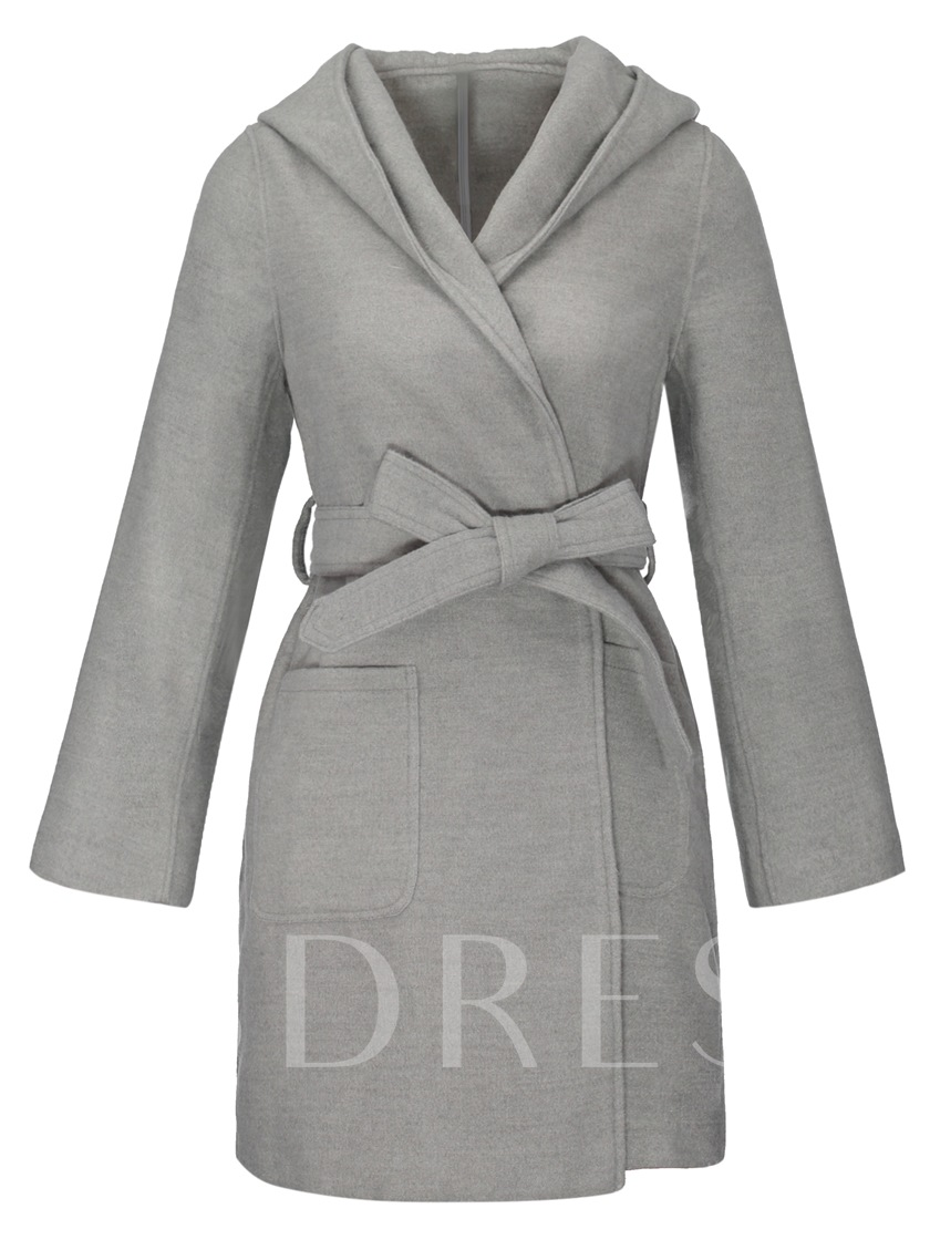 Plain Dual Pockets Lace Up Hooded Women's Overcoat