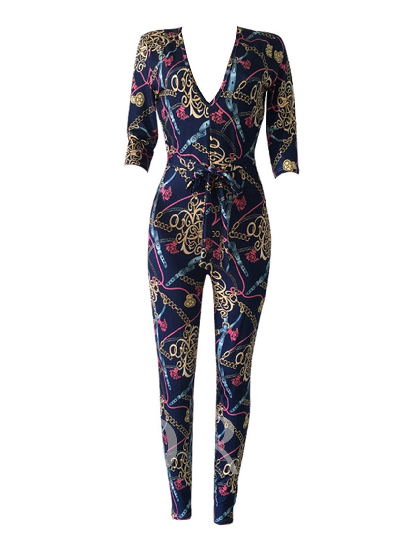 Sexy Printed Skinny Lace-Up Women's Jumpsuit