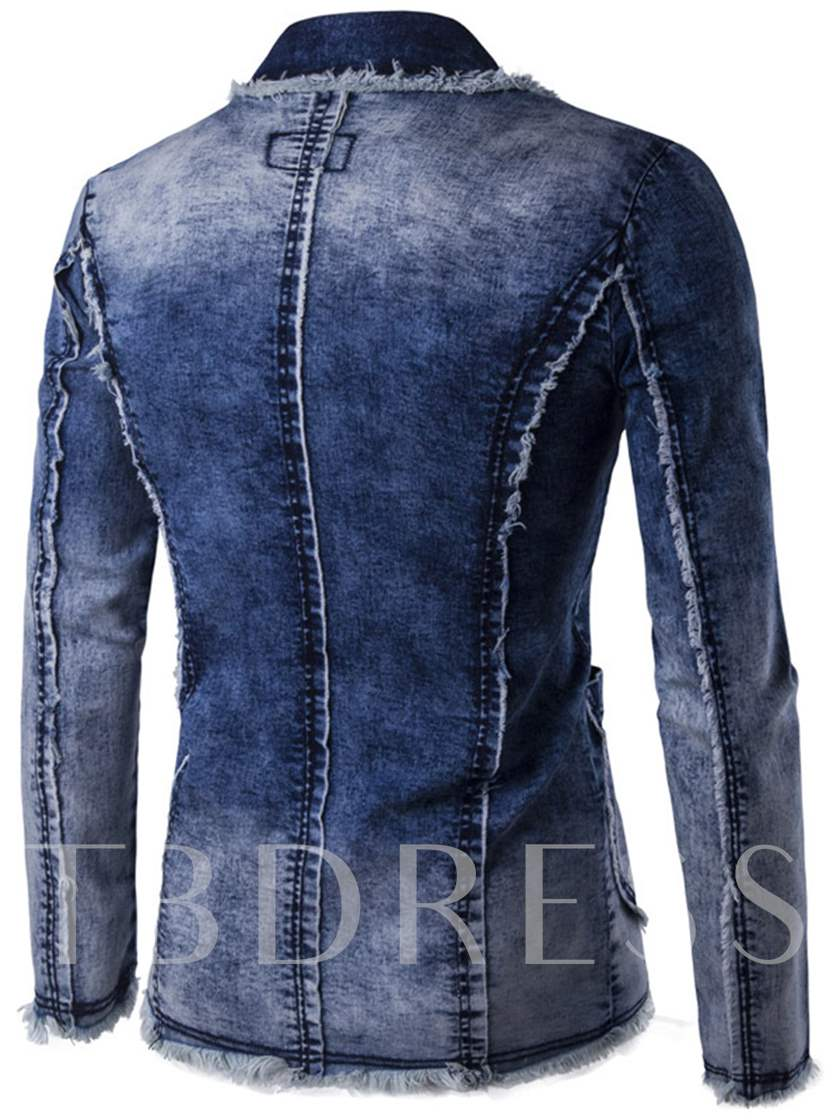 Notched Collar Two Button Slim Men's Denim Blazer
