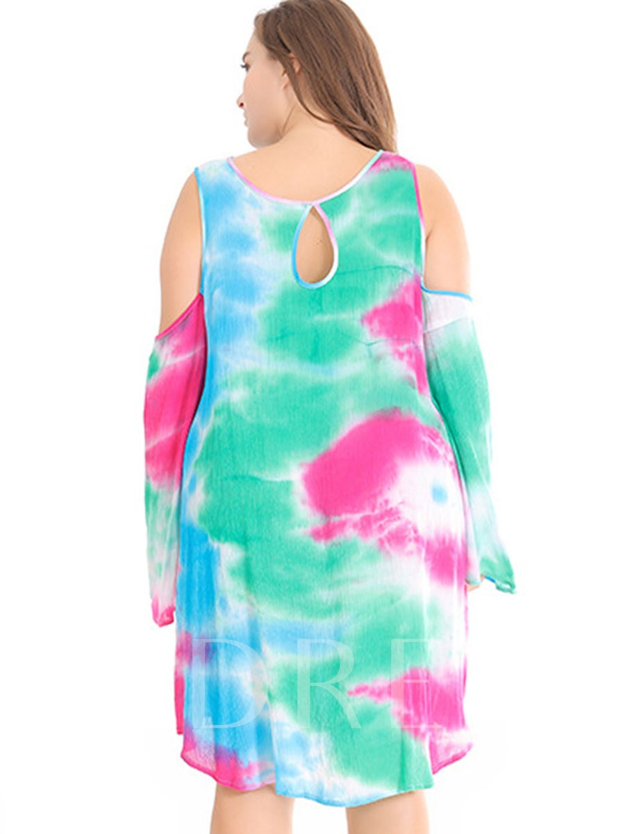 Dye Gradient Off Shoulder Chiffon Women's Plus Size Cover Up
