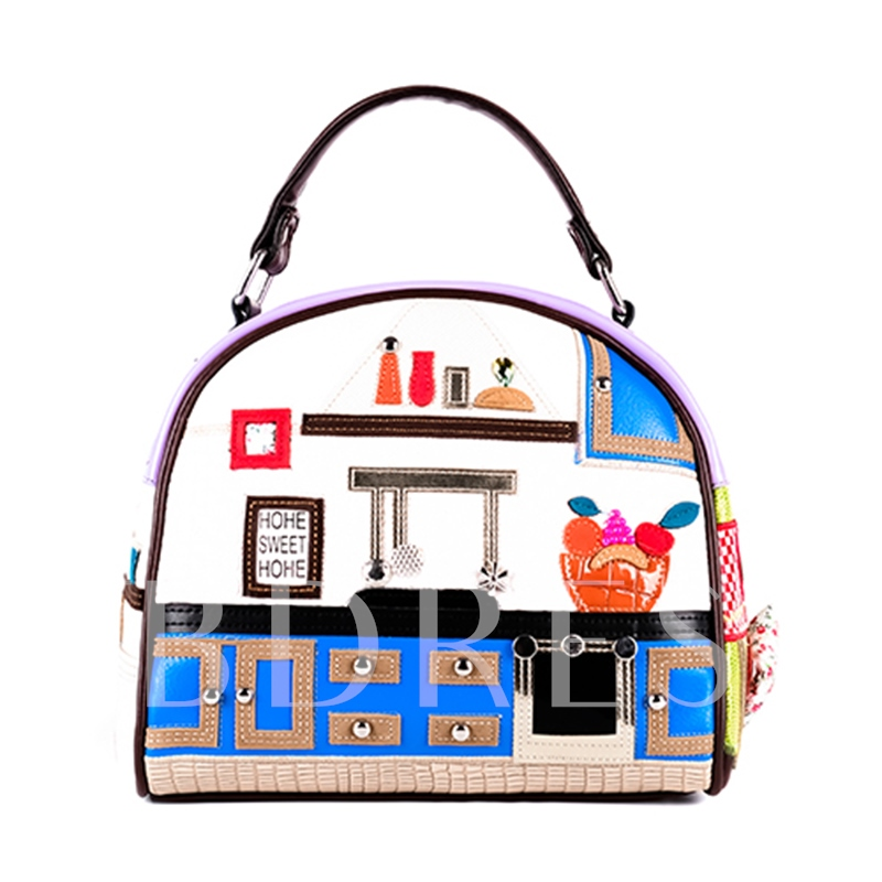 Korean Pattern Stitching Color Block Patchwork Tote Bag