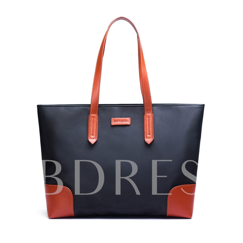 Casual Color Block Zipper Tote Bag