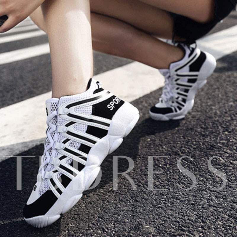 Color Block Stripe Mesh Tie Up Sprot Shoes for Men