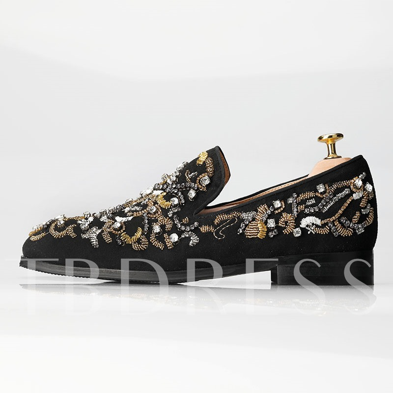 Plus Size Dress Shoes Embroidery Rhinestone Men's Loafers