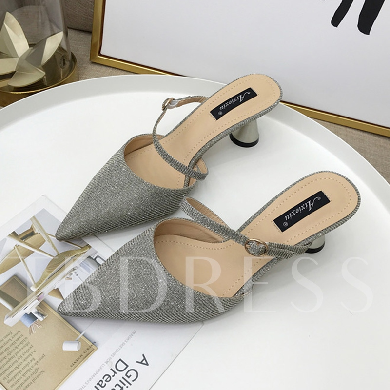 Shape Heel Shoes Pointed Toe Women's Slippers