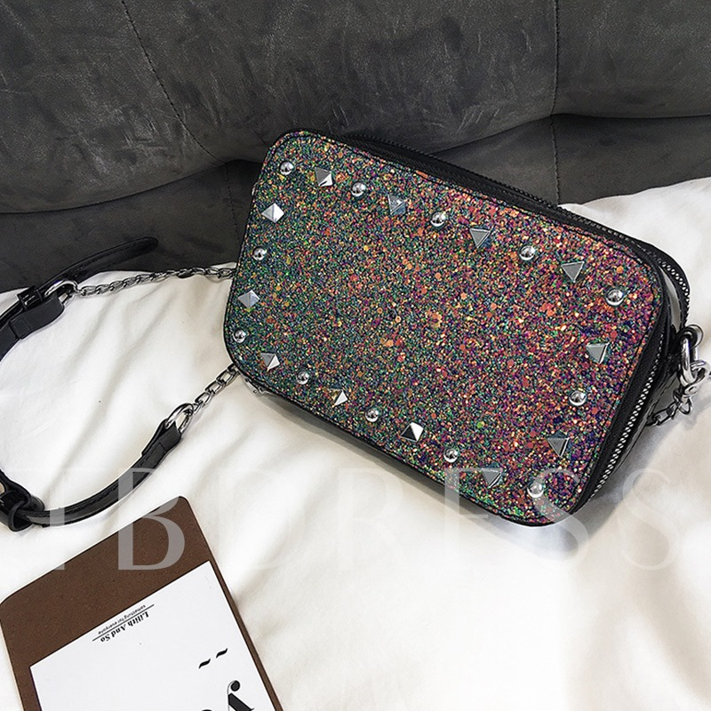Dazzling Rivets Adornment Women Cross Body Bag