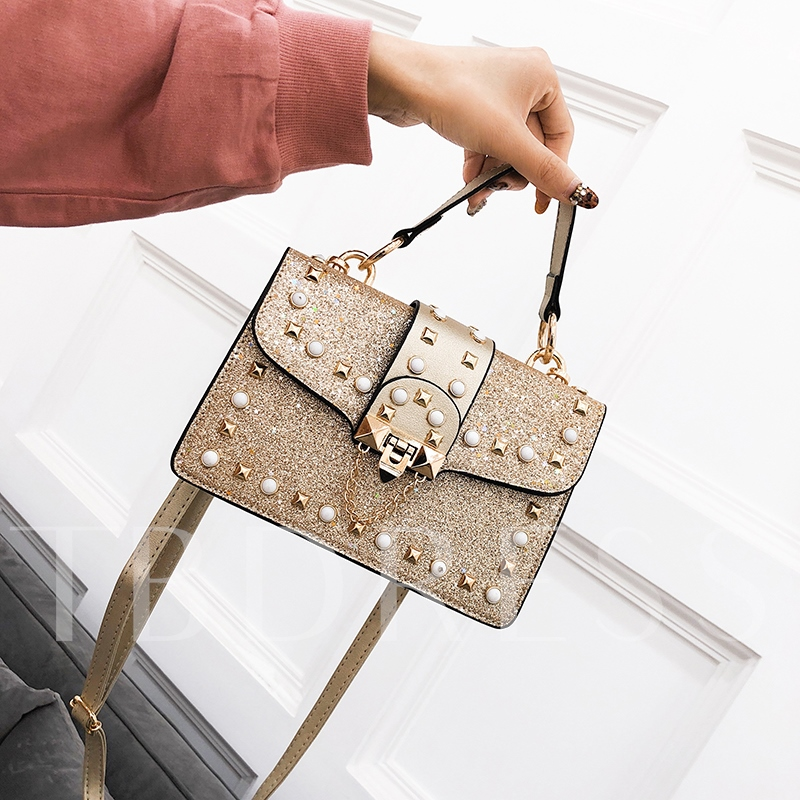 Shining Sequins Rivets Adornment Cross Body Bag