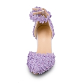 Purple Heels Lace Floral Bridal Shoes for Wedding