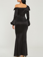 Black Lantern Sleeve Bodycon Women's Maxi Dress