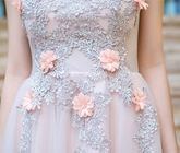 A-Line Appliques Flowers Pearls Prom Dress