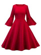 Square Neck Bell Sleeve Women's Day Dress